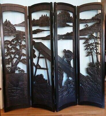 Vtg Hand Carved Wood Asian Oriental Screen Room Divider Cut Outs Woodcutting