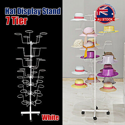 Floor 7 Levels Cap Rotating Spinner Display Stand Rack Hat Jewellery Holder L