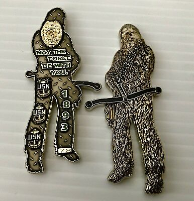 Star Wars Last Jedi Chewbacca Usn Security Cpo Chief Challenge Coin No Mess Nypd