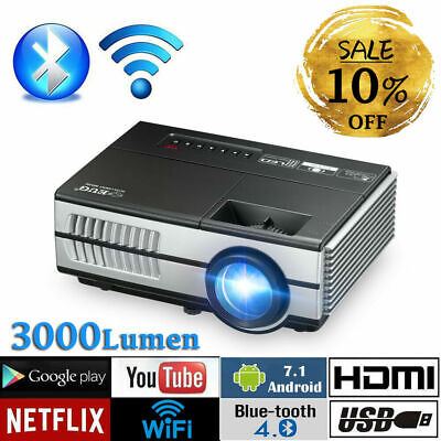 HD Portable Android 6.0 Mini Wifi Bluetooth Projector Smart Home Cinema Apps USB