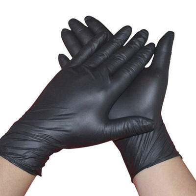 Rubber Comfortable Disposable Mechanic Nitrile Gloves Medical Exam Black