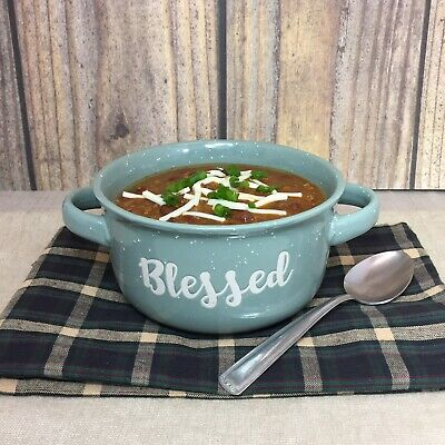 Blessed Green Double Handle Ceramic Rustic Farmhouse Soup Bowl