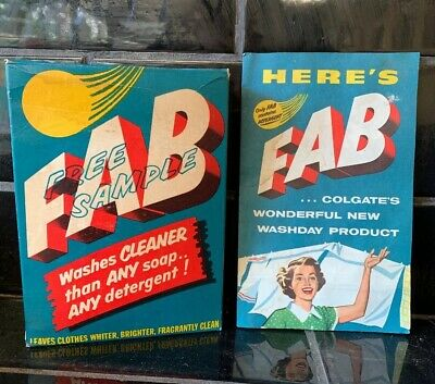 FAB Washing Powder sample Size Vintage Packet Box With Contents Full & Pamphlet