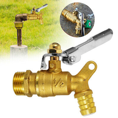 "1/2"" Garden Outdoor Brass Faucet Public Places Lockable Water Tap Single Hole"