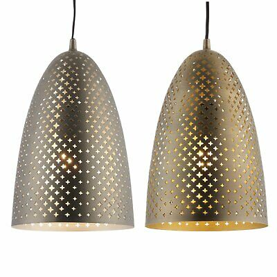 Modern Antique Brass or Aged Nickel Patterned Ceiling Light Pendant Fittings