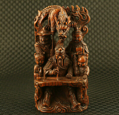 chinese old boxwood hand carved guan-gong write statue collectable noble gift