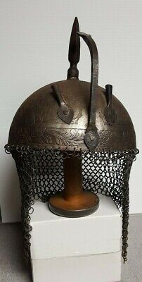 Vintage Indo Persian Islamic Ottoman Kulah Khud Armor Helmet etched Antique
