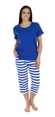 SLEEPYTIME Womens Blue Strped Cotton (T-Shirt & Capris) Pajama Set M (8-10) NWT