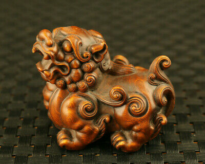 rare old boxwood hand carved Kylin bless exorcism statue hand piece decoration