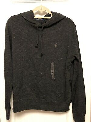 NWT$50 Polo Ralph Lauren Long-Sleeve Cotton Jersey Hooded Tee Navy Gray M L