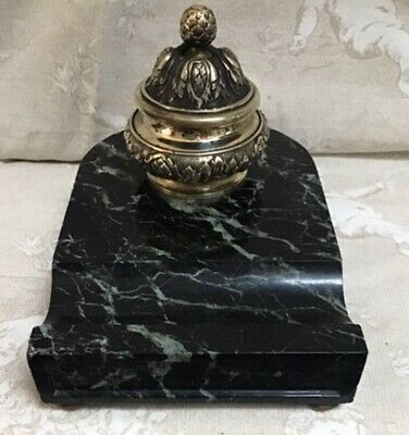 ANTIQUE FRENCH GOOD QUALITY BRASS & BLACK & GREY MARBLE INKWELL c1890