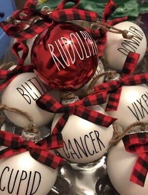 Rae Dunn Inspired Reindeer Ornaments With Buffalo Check Bows