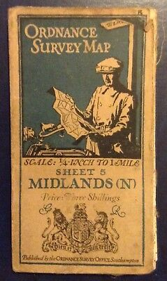 Ordnance Survey Cloth Map - Midlands (N) - 1920 3rd Edition
