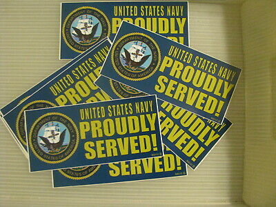WHOLESALE Lot of 12 pieces Bumper Sticker 3X6.5 US NAVY PROUDLY SERVED