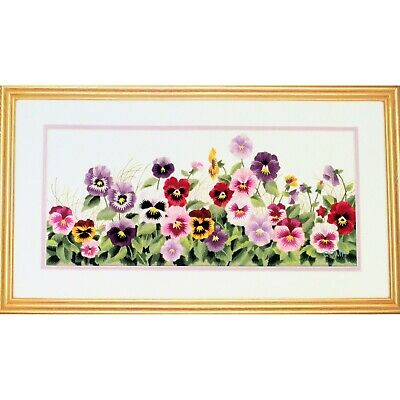 PANSY PARADE Crewel Embroidery Kit designed by Reina Pansies Floral