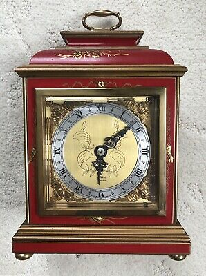 ELLIOTT OF LONDON SMALL BRACKET CLOCK with JAPANNED /CHINOISERIE DECORATED CASE