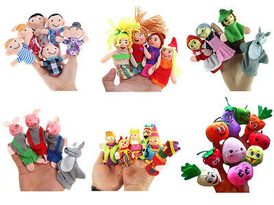4/6/10X Family Finger Puppets Cloth Doll Educational Hand Cartoon Animals To TDC
