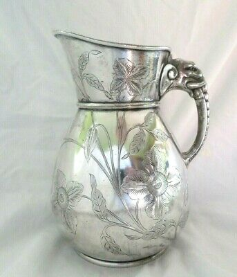 Antique Wilcox Aesthetic Silver Plate Water Pitcher, Figural Elephant Handle