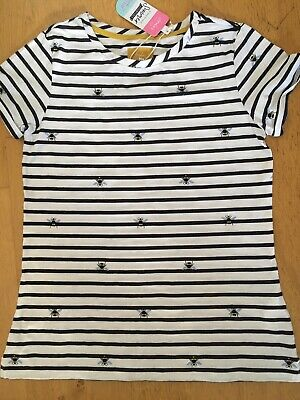 Ladies Joules Top, White Navy Stripe, Nessa Print, Bees, Size 14, BNWTS