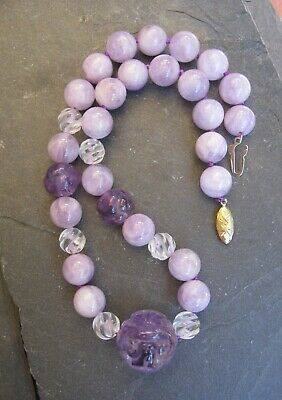 ANTIQUE CHINESE CARVED AMETHYST ROCK CRYSTAL SHOU BEAD NECKLACE Deco Large Stone