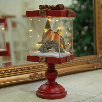 16cm Red LED Xmas Acrylic Robins 5 Piece With Clips Outdoor Christmas Decoration