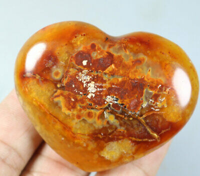 Natural Red Orange CARNELIAN AGATE Crystal Polished Heart Palm Stone  50g