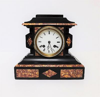 A Delightful Victorian French Made Black Slate & Marble Mantle Clock - T Simpson