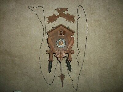 Vintage Black Forest Cuckoo Clock 2 Acorn Weights Germany Keeps Time Read Below