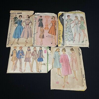 Vintage Sewing Patterns Lot Of 5 McCalls, Simplicity Dresses & Skirts