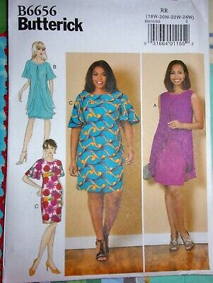 Butterick 6656 Fitted Sheath Dress Overlay Drape Cape Capelet Sleeves 18W-24W FF