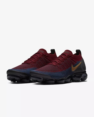 NIKE AIR VaporMax Flyknit 2 Men's Running Trainers Shoes Dark Blue and red