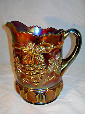 """Northwood """"Grape and Cable"""" Table Pitcher. Amethyst. Antique Carnival Glass."""