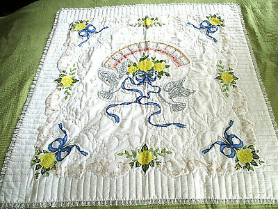 """BRIDAL QUILT Wall Hanging Hand Embroidered Fan Love Birds Flowers Lace 44"""" EUC"""