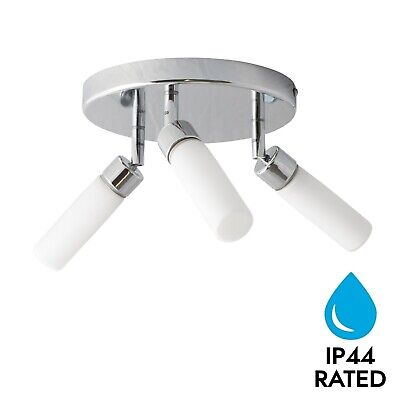Modern Chrome 3 Way Round Bathroom Ceiling Light Spotlight Fitting IP44 Rated