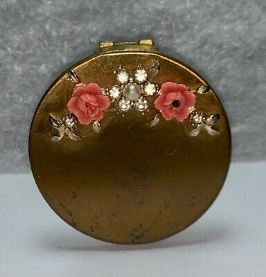 Vintage Lipstick Hinged Compact With Mirror