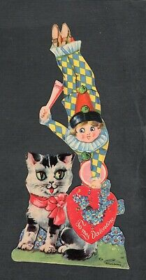 H220 Valentine 3x7 mechanical Clown and great kitty cat