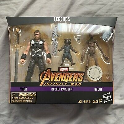 marvel avengers infinity war toys r us exclusive thor, rocket and groot