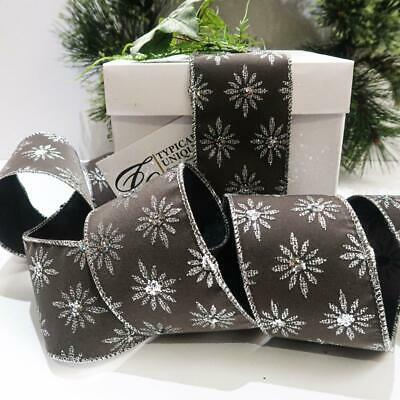 Luxury Christmas Ribbon 10 Yards Wire Edged Grey Silver Star Grey Gift Wrapping