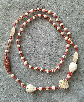 Antique Art Deco Czech Glass Carved Heads Egyptian Revival Necklace Beads VTG
