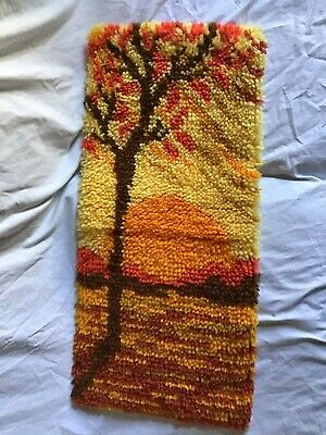 """Sunrise Sunset Latch Hook Finished Wall Hanging Fall Colors 26"""" X 11"""" ~Vintage~"""