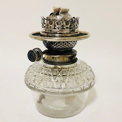 Antique Silver Plated HINKS Duplex Oil Lamp Burner with Cut Glass Font