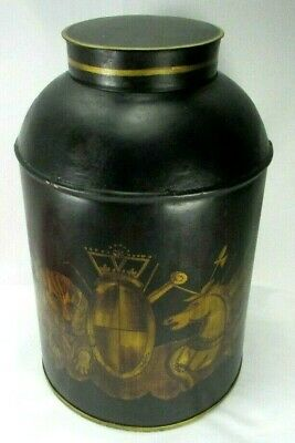 Large Grain Can Toleware Tinware Unicorn and Lion Crest Heraldic Canister 2 Side