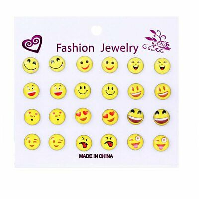 36 Pairs Cute Yellow  Face Earrings Set Round Emoticons Emoji Ear Studs HC