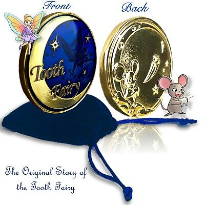 Gold Tooth Fairy Coin with Tooth Fairy Story Video & Velvet  Memory Bag