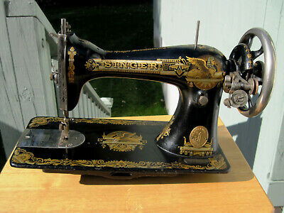 Beautiful Vintage Sphinx Singer Sewing Machine Treadle Head Gold Ornate Antique