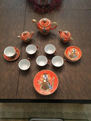 Antique Japanese Moriage Satsuma 21 Pc Gold Dragon Immortal Tea Set Stamped
