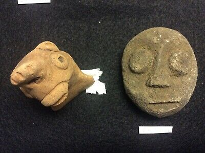 GD-10/14B Pre-Columnian Southern Arawak Lot of 2 artifacts, Basalt + Terracotta