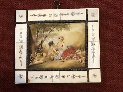 Extremely Old Antique Miniature Oil Painting On Tin Metal Romantic Scene