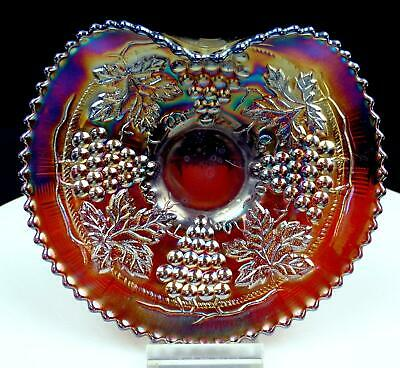 """Northwood Amethyst Carnival Glass Grape And Cable 6 1/4"""" Handgrip Plate 1908"""