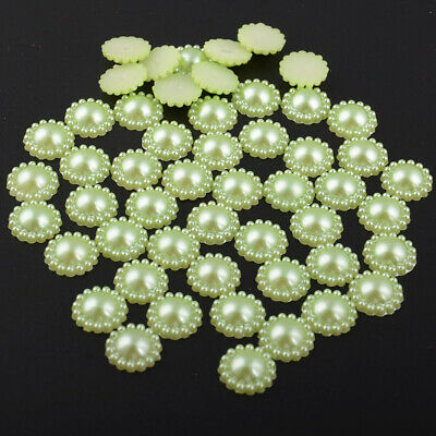 DIY 40Pcs 12mm Green Half Round Plastic Flatback Beads Home Holiday Decoration